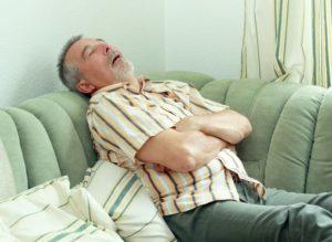 snoring senior man